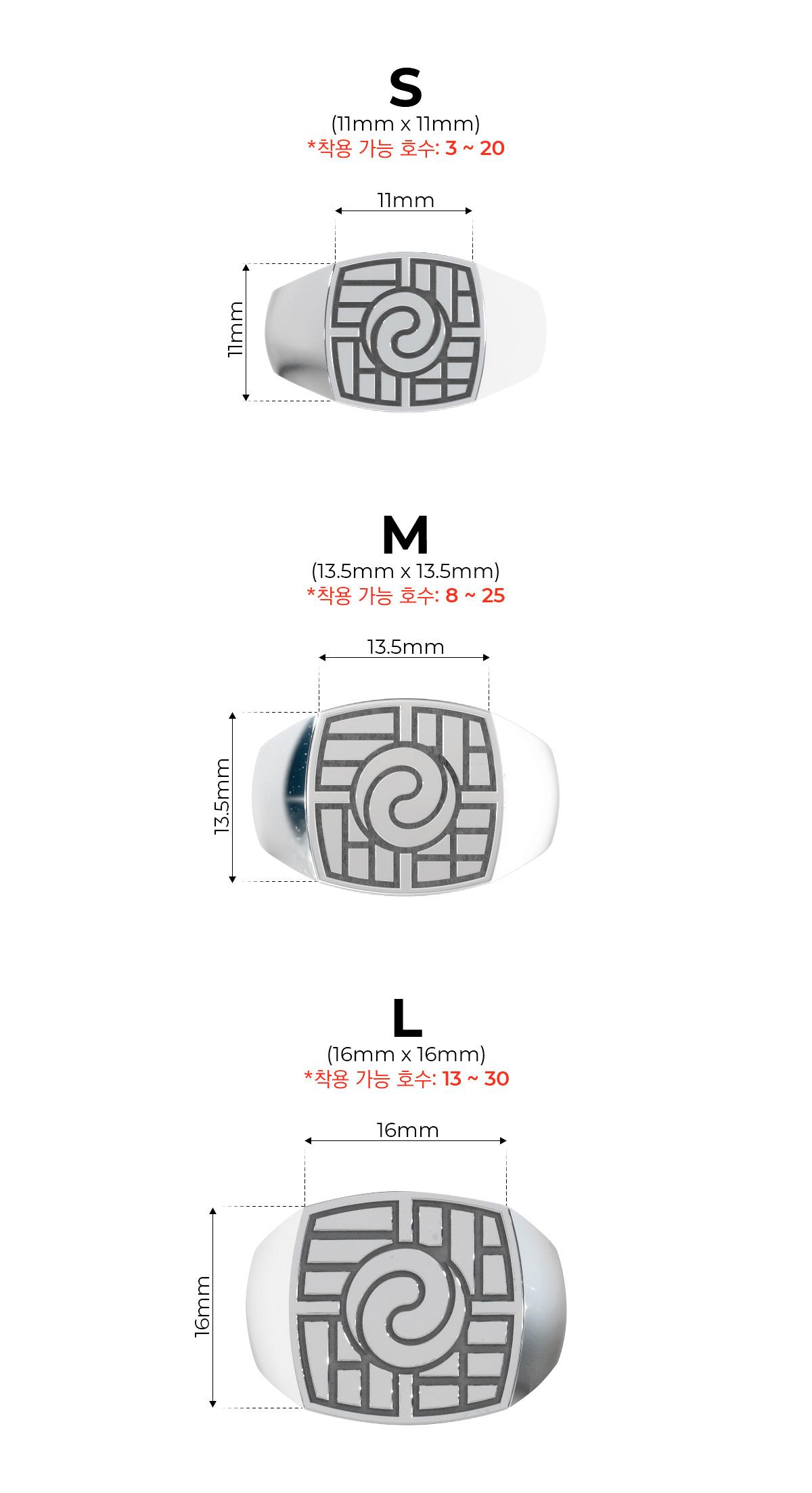 원링 815 에디션 페이스 사이즈(S, M, L) 비교