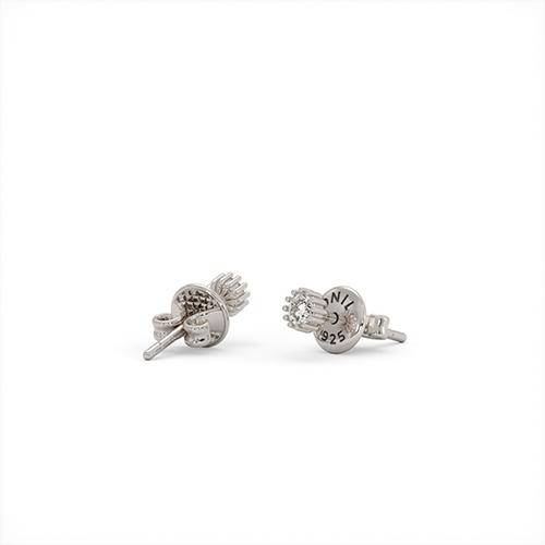 1ING[일링] 스와로브스키(Swarovski) 4mm 지르코니아(Zirconia) 꽃발 귀걸이 실버(Silver) 화이트 골드 도금(Gold Plated)