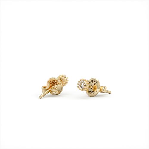 1ING[일링] 스와로브스키(Swarovski) 4mm 지르코니아(Zirconia) 꽃발 귀걸이 실버(Silver) 옐로우 골드 도금(Gold Plated)