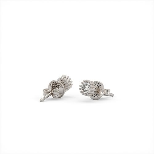 1ING[일링] 스와로브스키(Swarovski) 5mm 지르코니아(Zirconia) 꽃발 귀걸이 실버(Silver) 화이트 골드 도금(Gold Plated)
