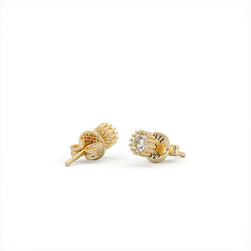 1ING[일링] 스와로브스키(Swarovski) 5mm 지르코니아(Zirconia) 꽃발 귀걸이 실버(Silver) 옐로우 골드 도금(Gold Plated)