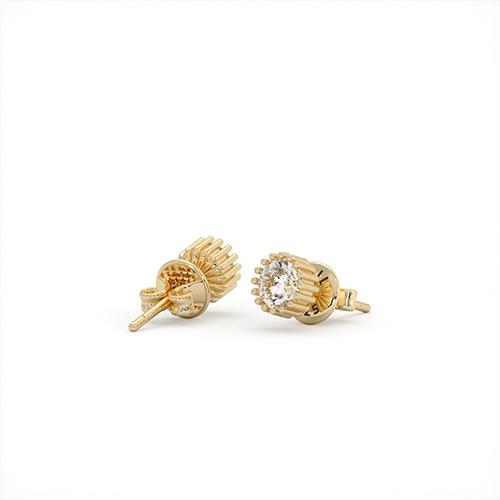 1ING[일링] 스와로브스키(Swarovski) 6mm 지르코니아(Zirconia) 꽃발 귀걸이 실버(Silver) 옐로우 골드 도금(Gold Plated)