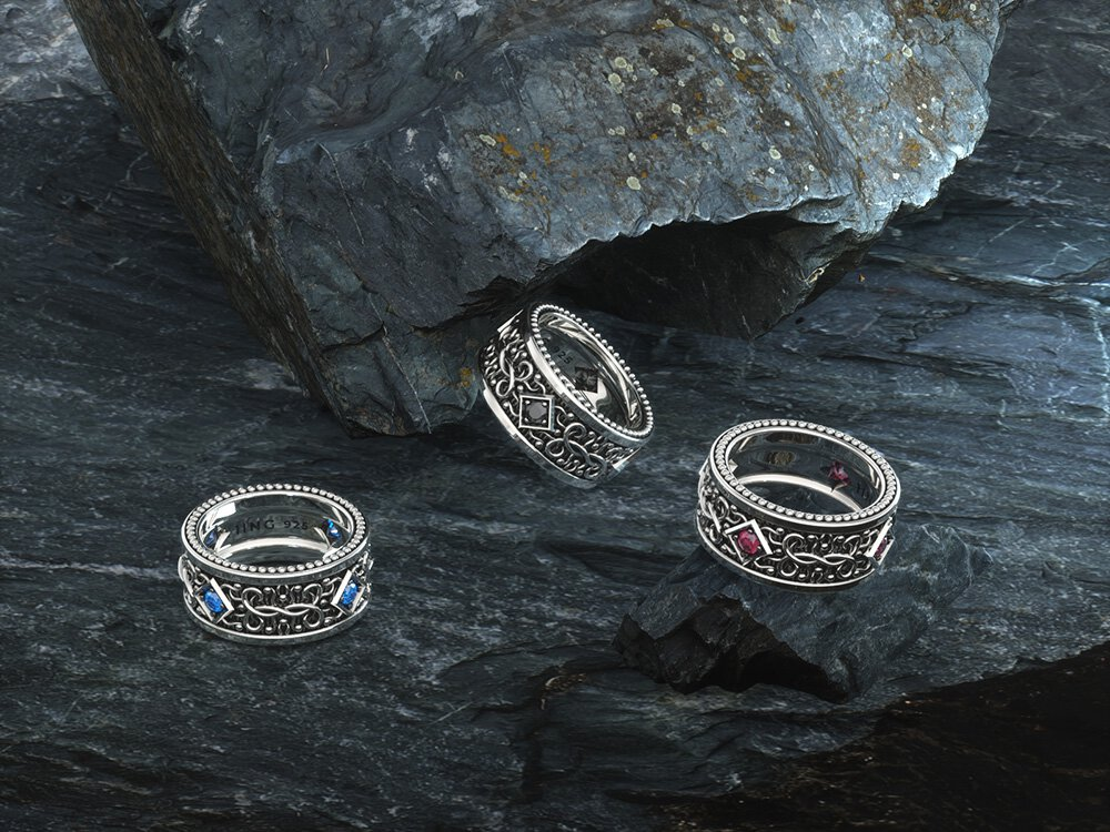 1ING[일링] 문양 반지(패턴 링) 은(Silver) 소재 스와로브스키(SWAROVSKI) 지르코니아(Zirconia) 스톤 컨셉 샷 1