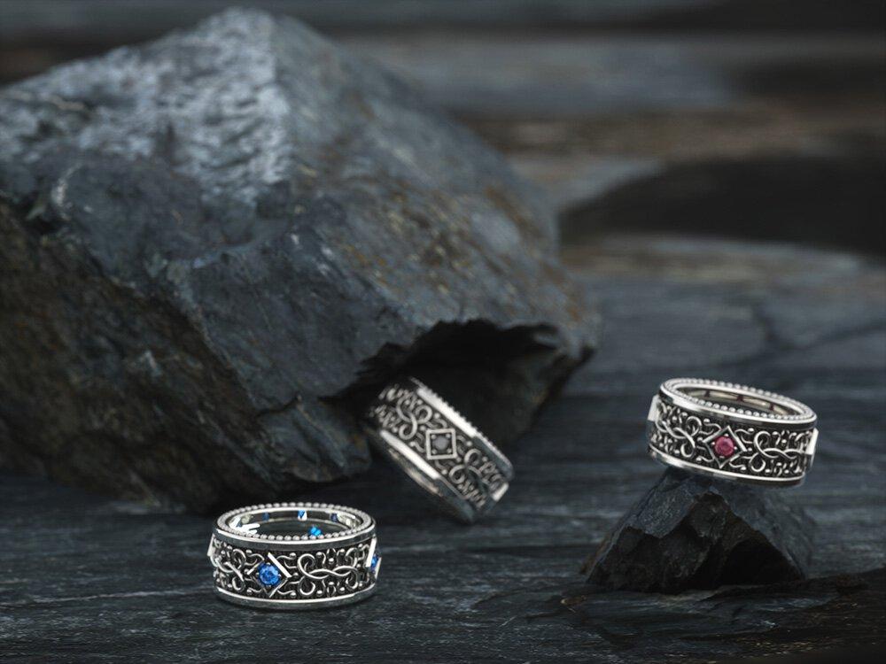 1ING[일링] 문양 반지(패턴 링) 은(Silver) 소재 스와로브스키(SWAROVSKI) 지르코니아(Zirconia) 스톤 컨셉 샷 2