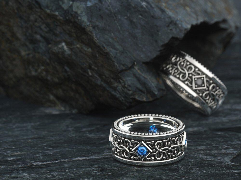 1ING[일링] 문양 반지(패턴 링) 은(Silver) 소재 스와로브스키(SWAROVSKI) 지르코니아(Zirconia) 스톤 컨셉 샷 3