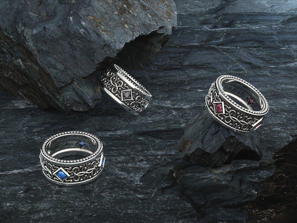 1ING[일링] 문양 반지(패턴 링) 은(Silver) 소재 스와로브스키(SWAROVSKI) 지르코니아(Zirconia) 스톤 컨셉 샷 5