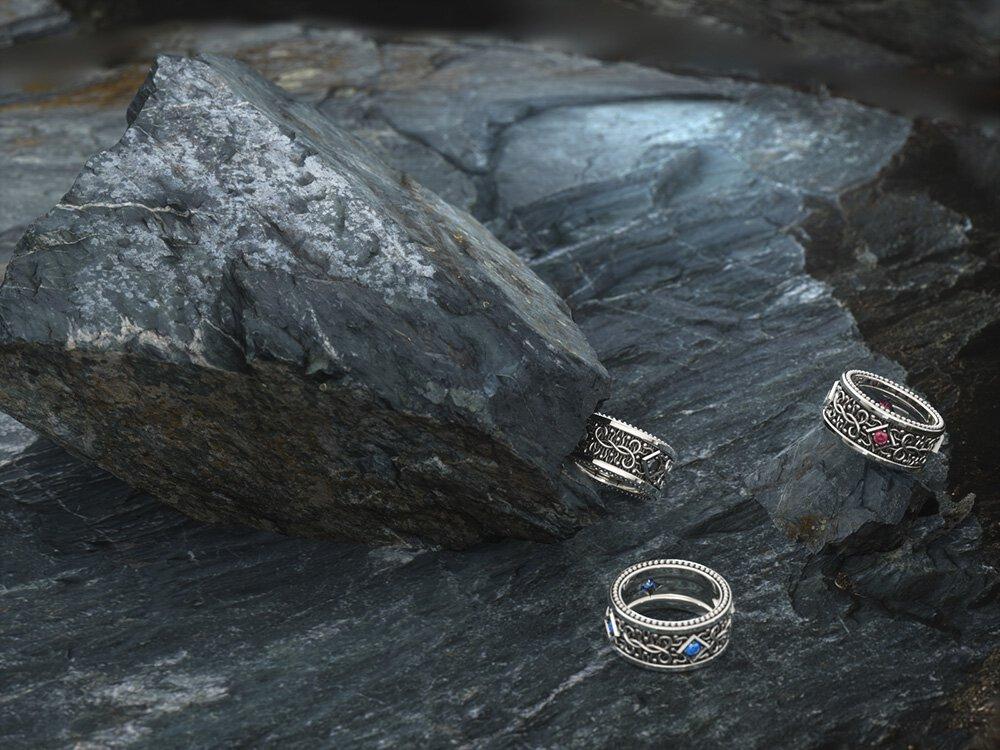 1ING[일링] 문양 반지(패턴 링) 은(Silver) 소재 스와로브스키(SWAROVSKI) 지르코니아(Zirconia) 스톤 컨셉 샷 6