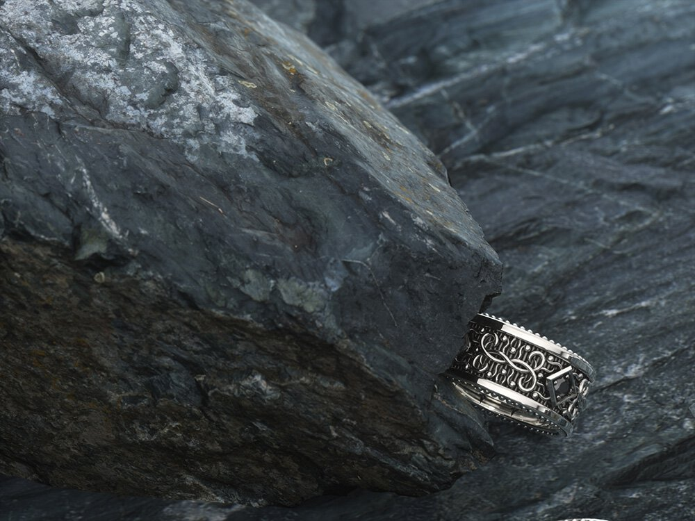 1ING[일링] 문양 반지(패턴 링) 은(Silver) 소재 스와로브스키(SWAROVSKI) 지르코니아(Zirconia) 스톤 컨셉 샷 7