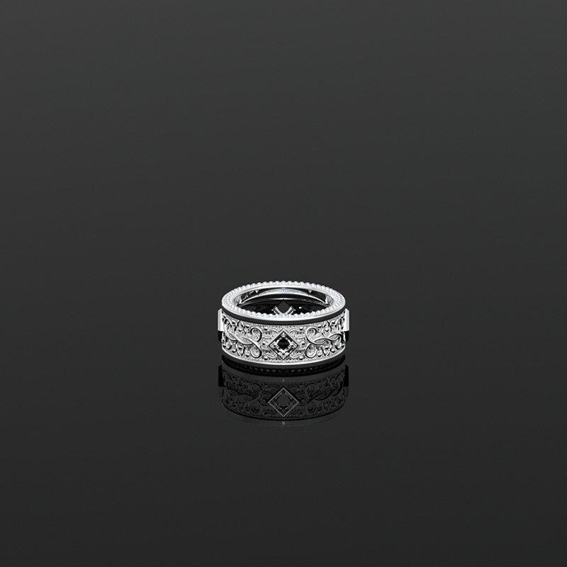 1ING[일링] 문양 반지(패턴 링) 은(Silver) 소재 스와로브스키(SWAROVSKI) Black 지르코니아(Zirconia) 스톤 유화 처리 전