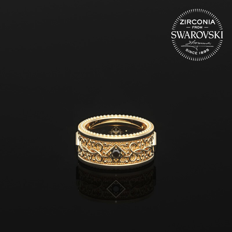 1ING[일링] 문양 반지(패턴 링) 순금(24K Gold) 소재 스와로브스키(SWAROVSKI) Black 지르코니아(Zirconia) 스톤