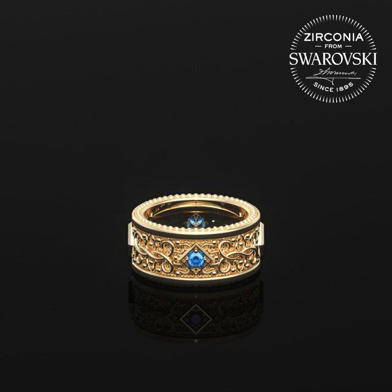 1ING[일링] 문양 반지(패턴 링) 순금(24K Gold) 소재 스와로브스키(SWAROVSKI) Blue 지르코니아(Zirconia) 스톤