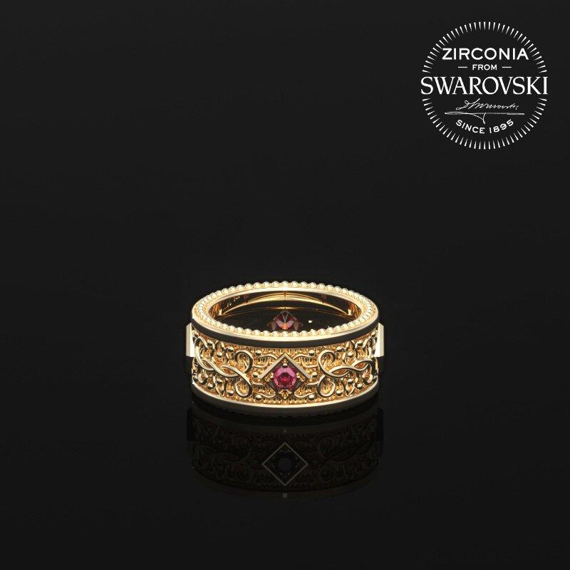 1ING[일링] 문양 반지(패턴 링) 순금(24K Gold) 소재 스와로브스키(SWAROVSKI) Red 지르코니아(Zirconia) 스톤