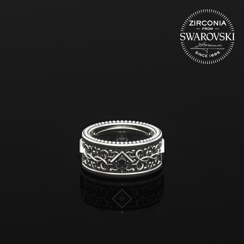 1ING[일링] 문양 반지(패턴 링) 은(Silver) 소재 스와로브스키(SWAROVSKI) Black 지르코니아(Zirconia) 스톤