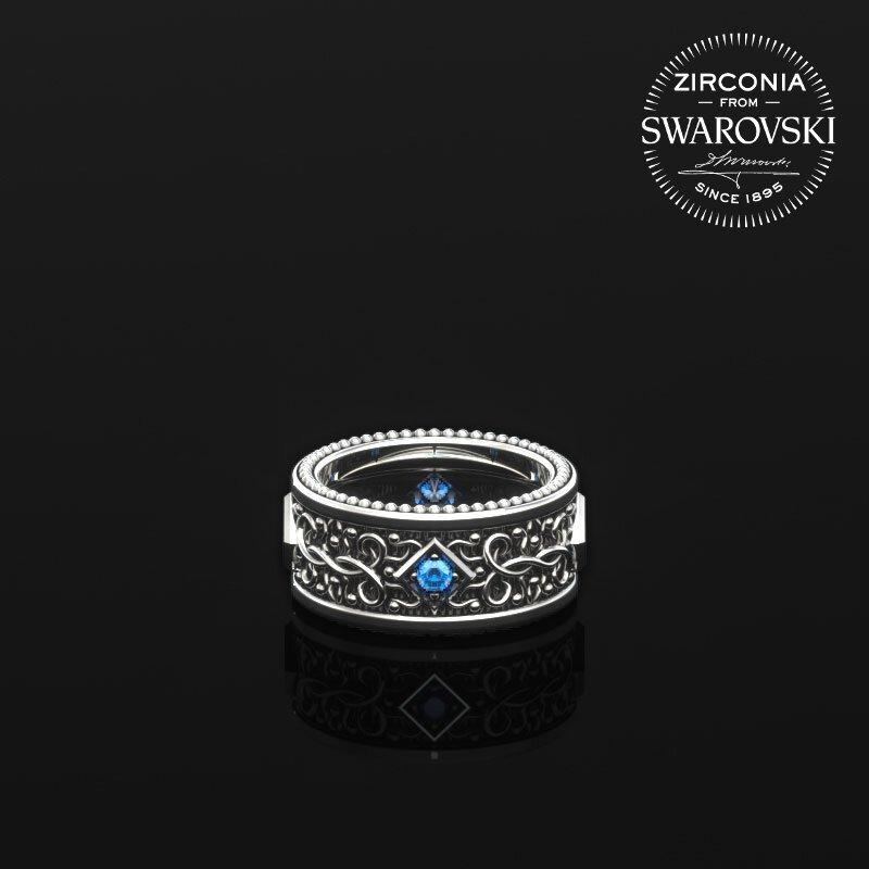 1ING[일링] 문양 반지(패턴 링) 은(Silver) 소재 스와로브스키(SWAROVSKI) Blue 지르코니아(Zirconia) 스톤