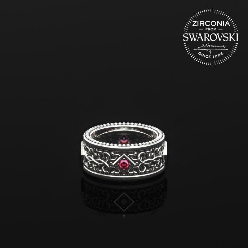 1ING[일링] 문양 반지(패턴 링) 은(Silver) 소재 스와로브스키(SWAROVSKI) Red 지르코니아(Zirconia) 스톤